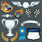 Auto Racing Elements - Flaming Tire, Checkered Flag