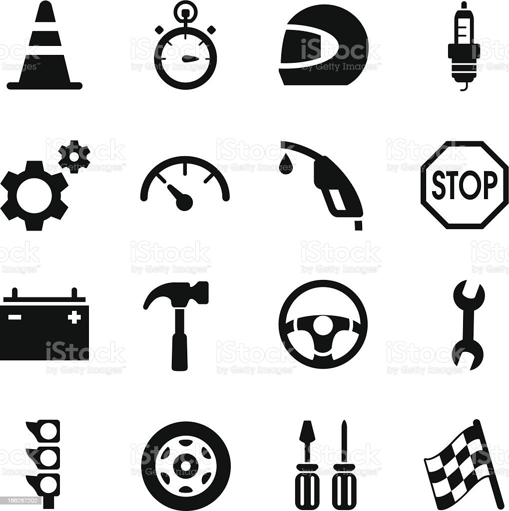 Auto Racing Icons vector art illustration