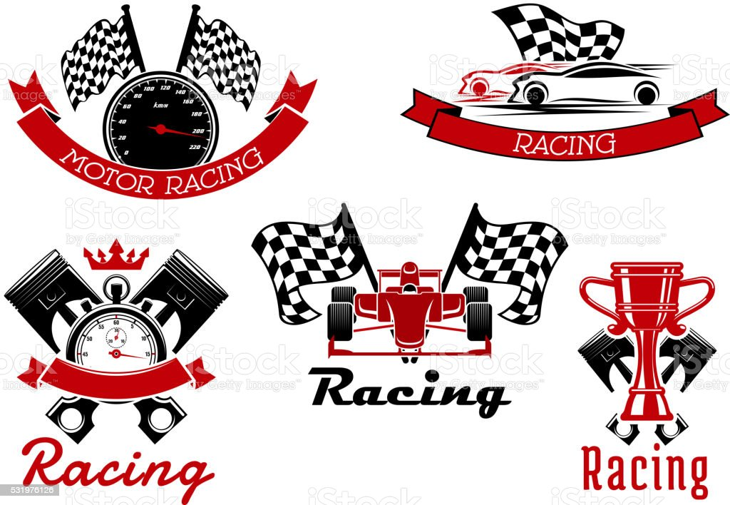 Auto racing sporting symbols with race cars vector art illustration