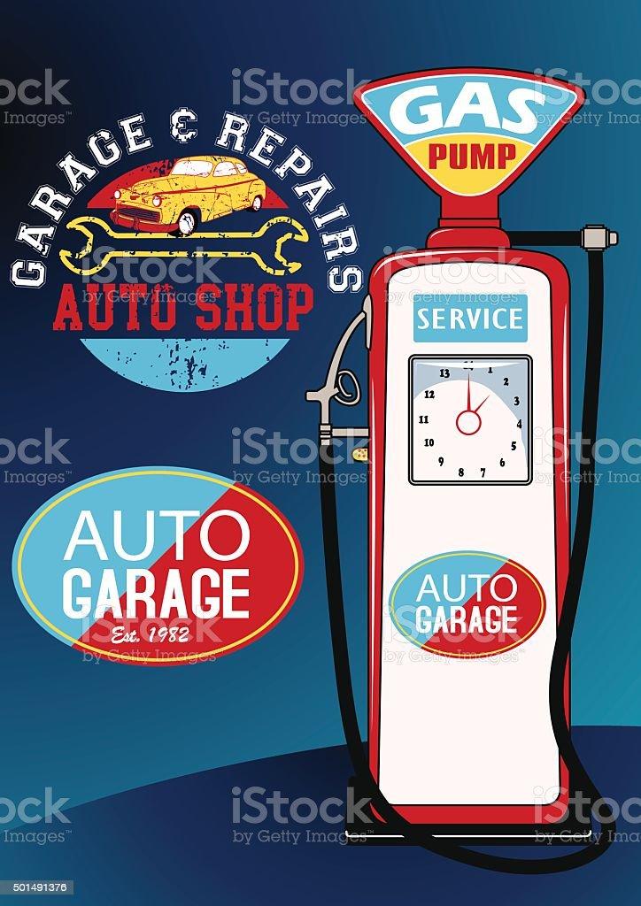 Auto repairs and gas pump vector art illustration
