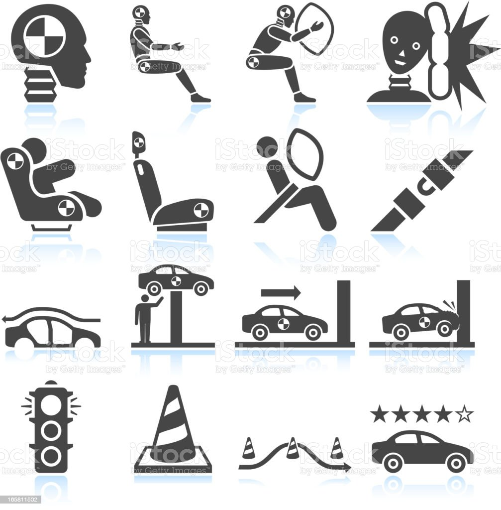 Auto safety testing black & white vector icon set vector art illustration
