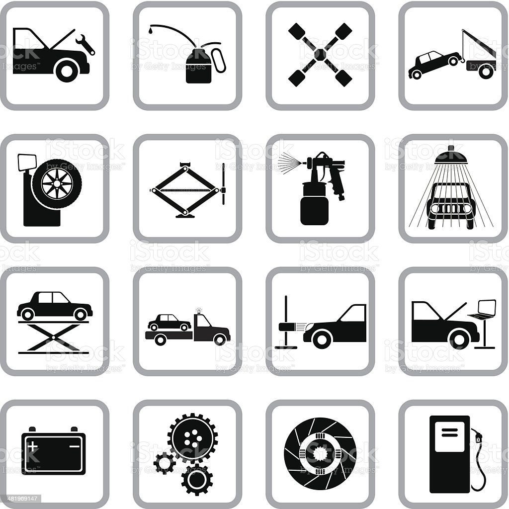 Auto service and repair icons vector art illustration