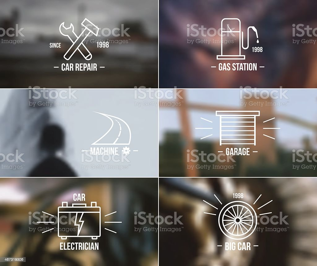 Auto service badges on a blurred backgrounds vector art illustration