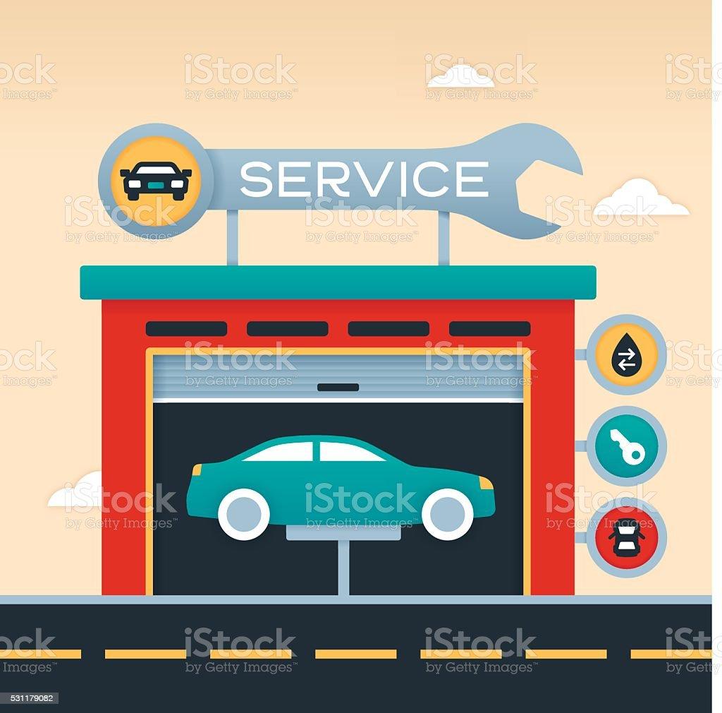 Auto Service Garage vector art illustration