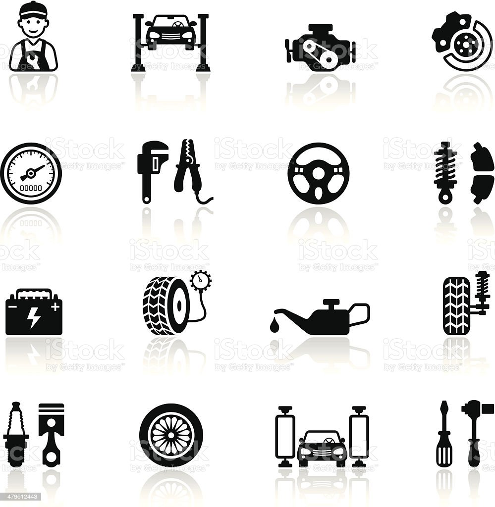 Auto Service Icon Set vector art illustration