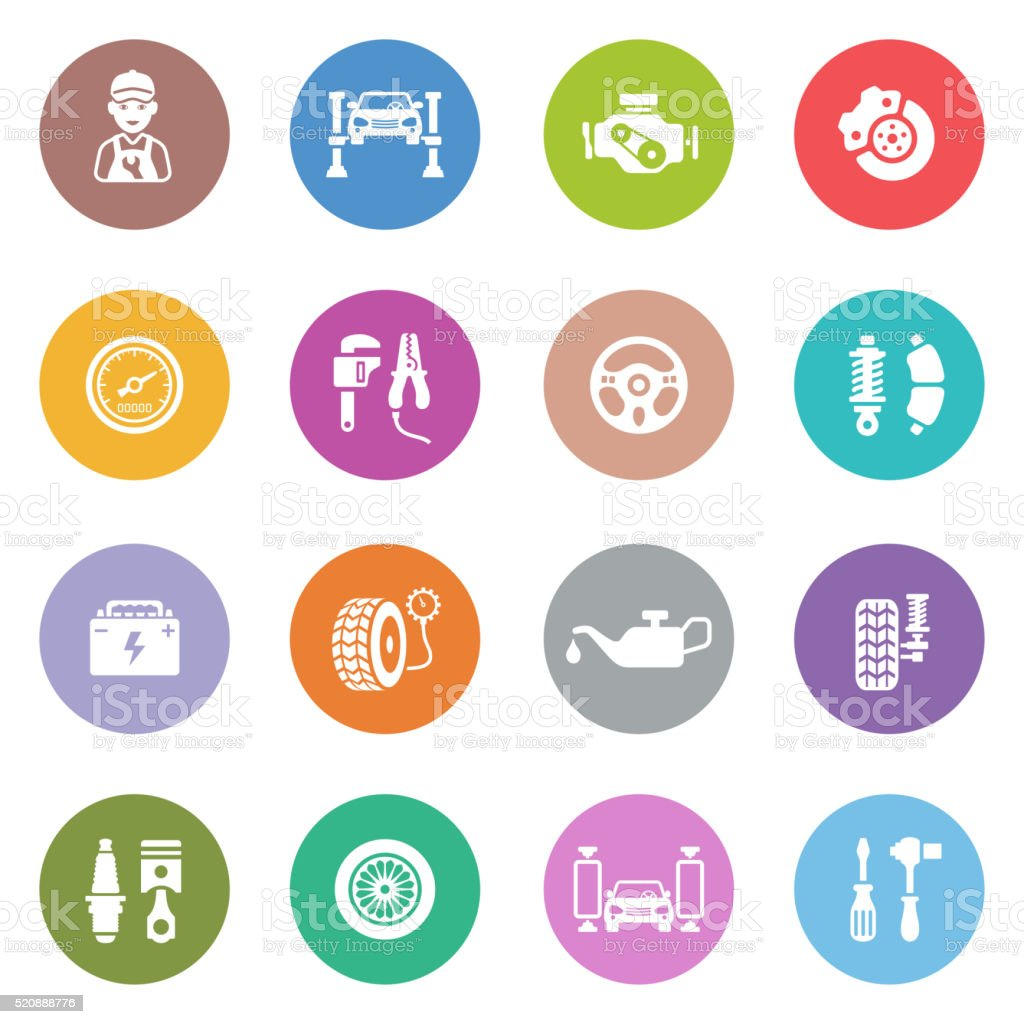 Auto Service Icon Set vector art illustration