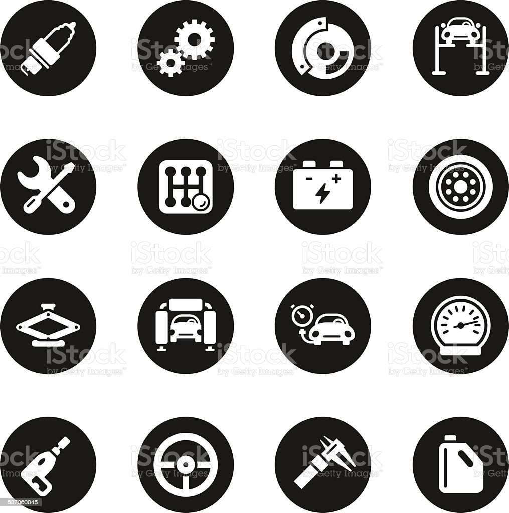 Auto Service Icons - Black Circle Series vector art illustration