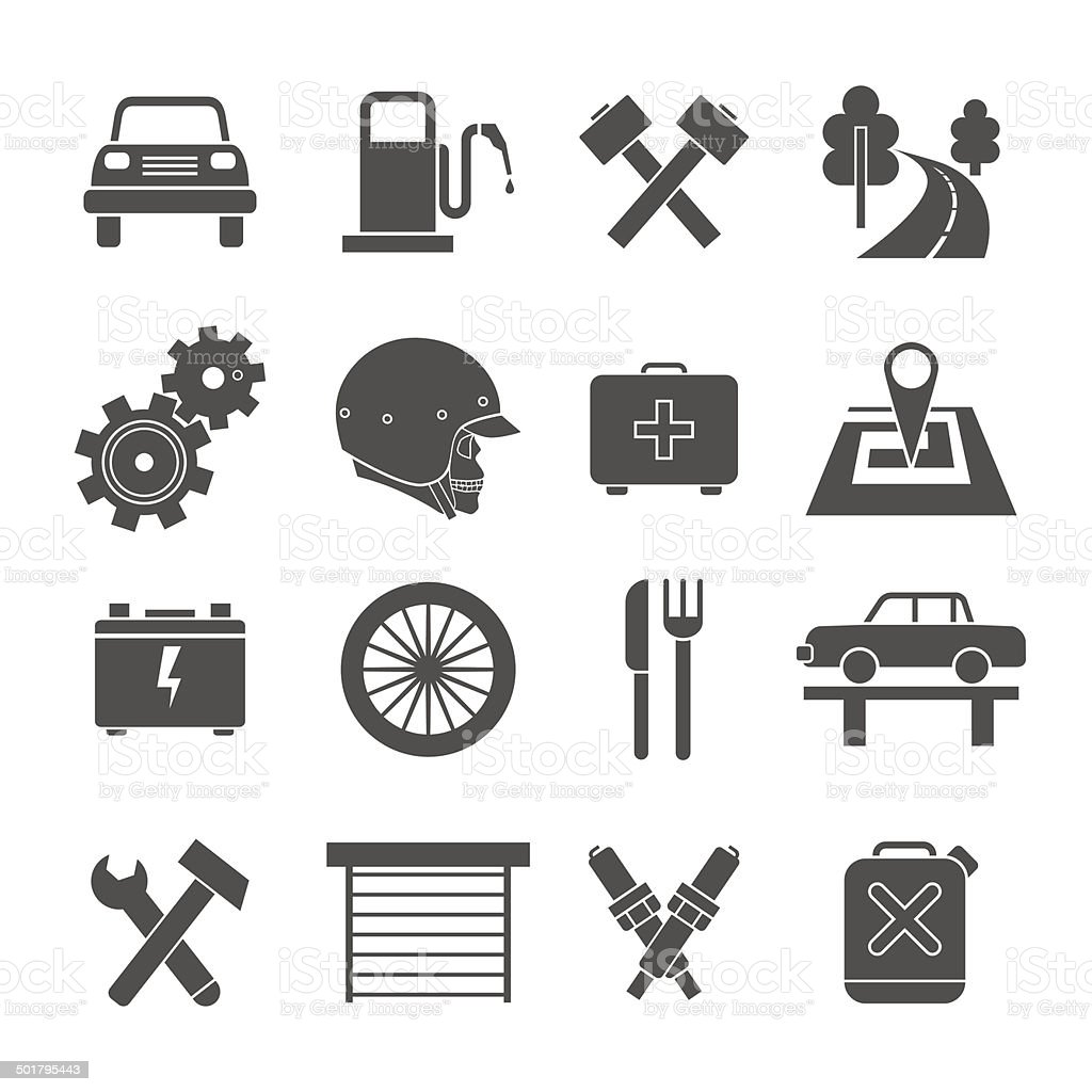 Auto service icons set royalty-free stock vector art