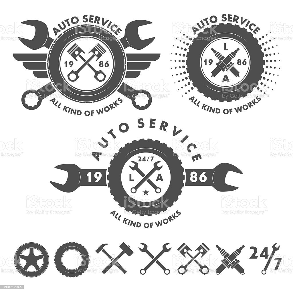 Auto service labels emblems and logo elements vector art illustration