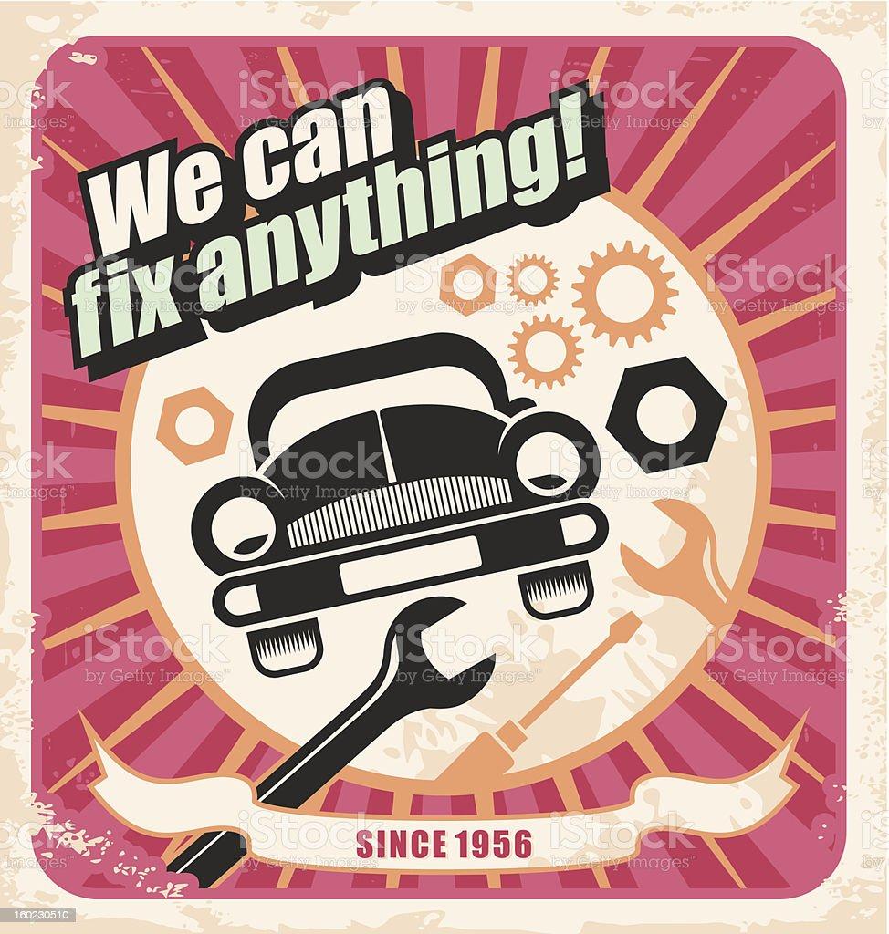 Auto service retro poster vector art illustration