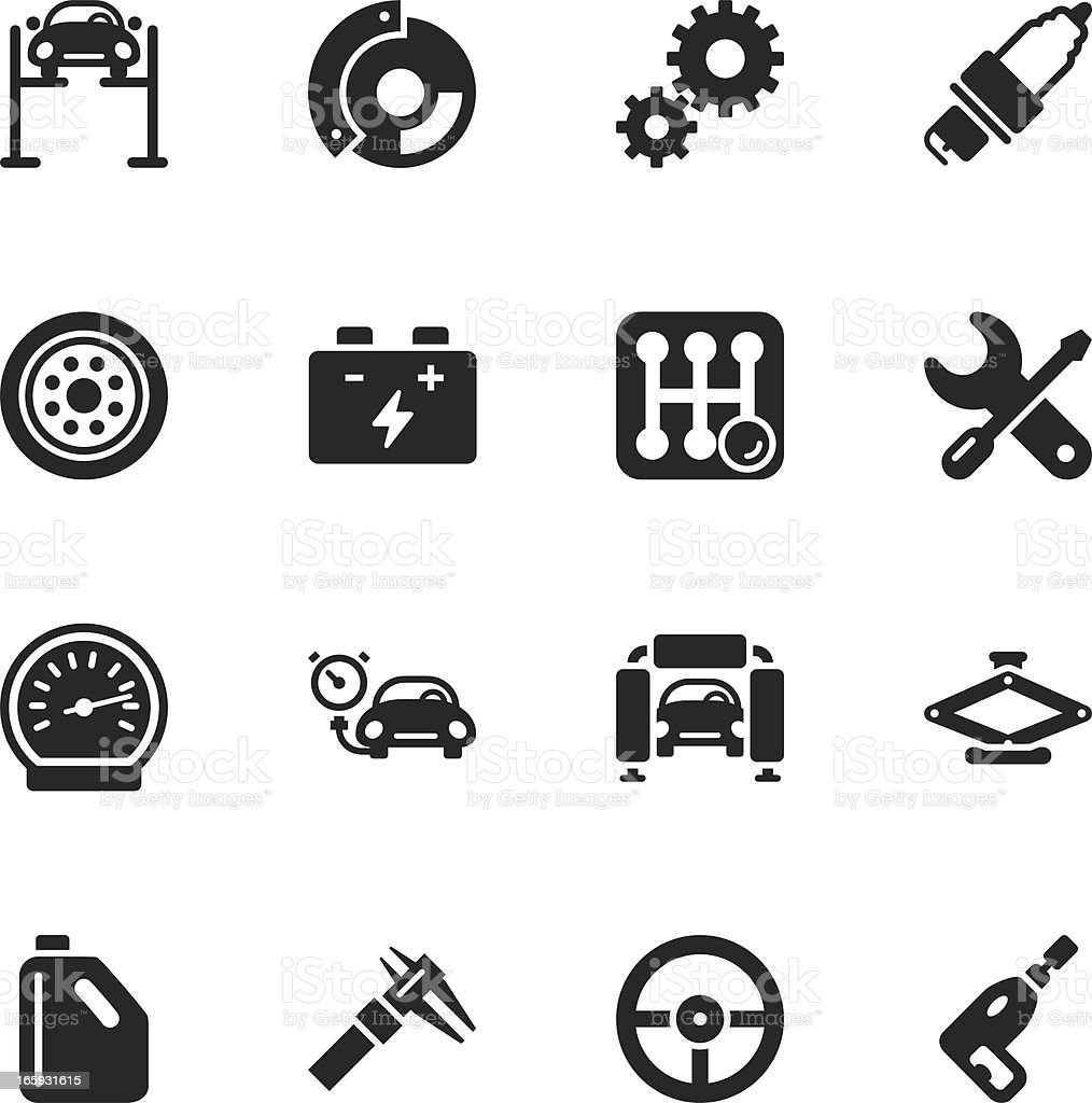 Auto Service Silhouette Icons royalty-free stock vector art