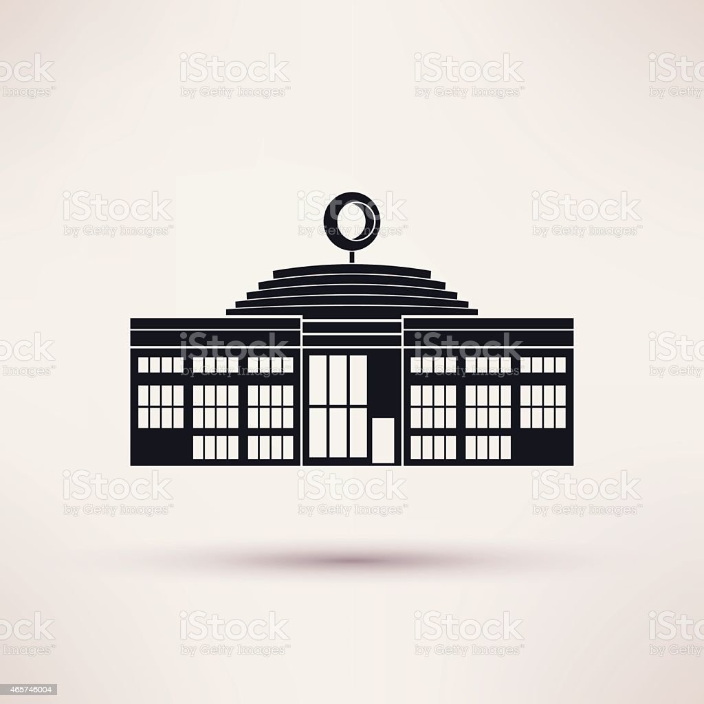 Auto show building. Icon in the flat style. vector art illustration