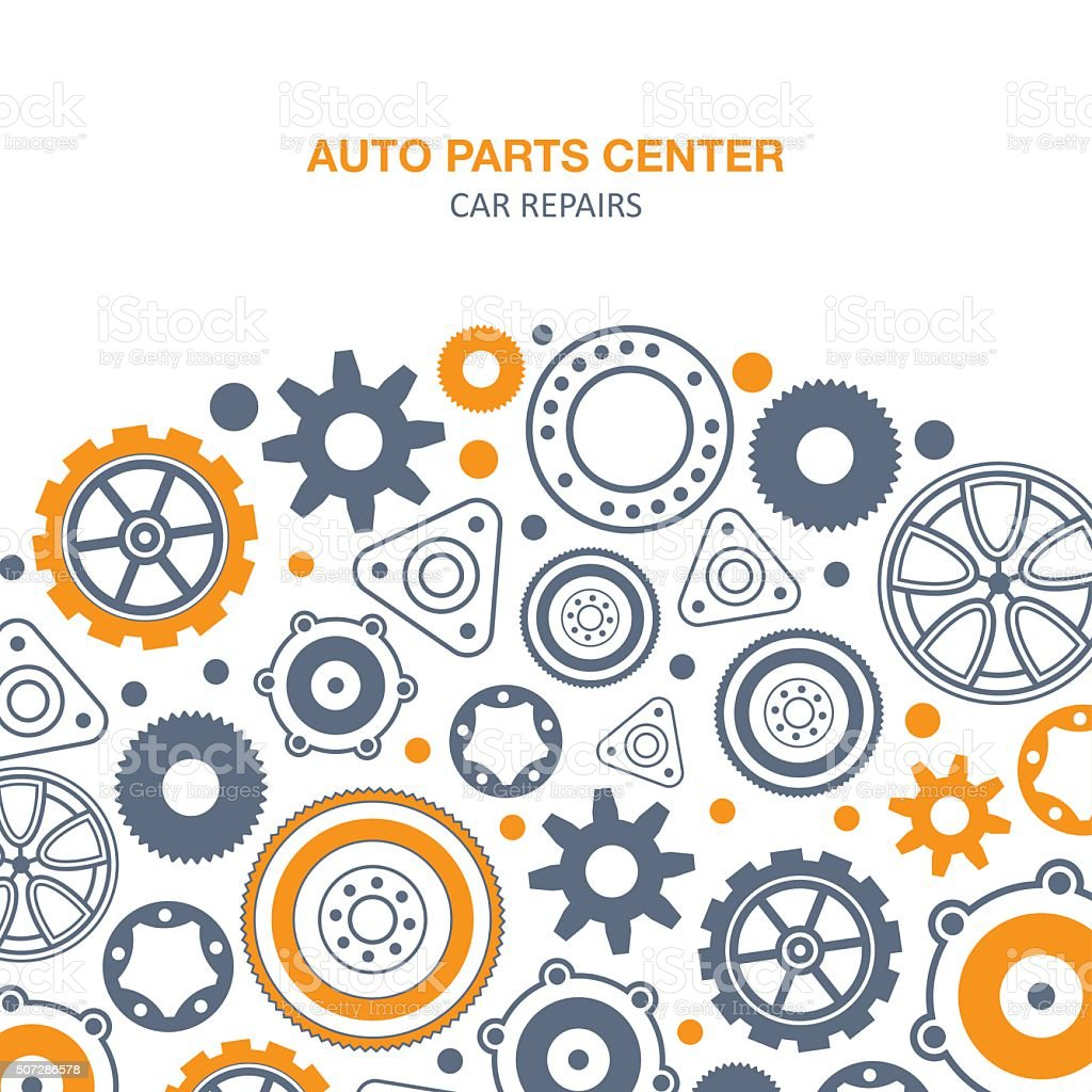Auto spare parts background vector art illustration