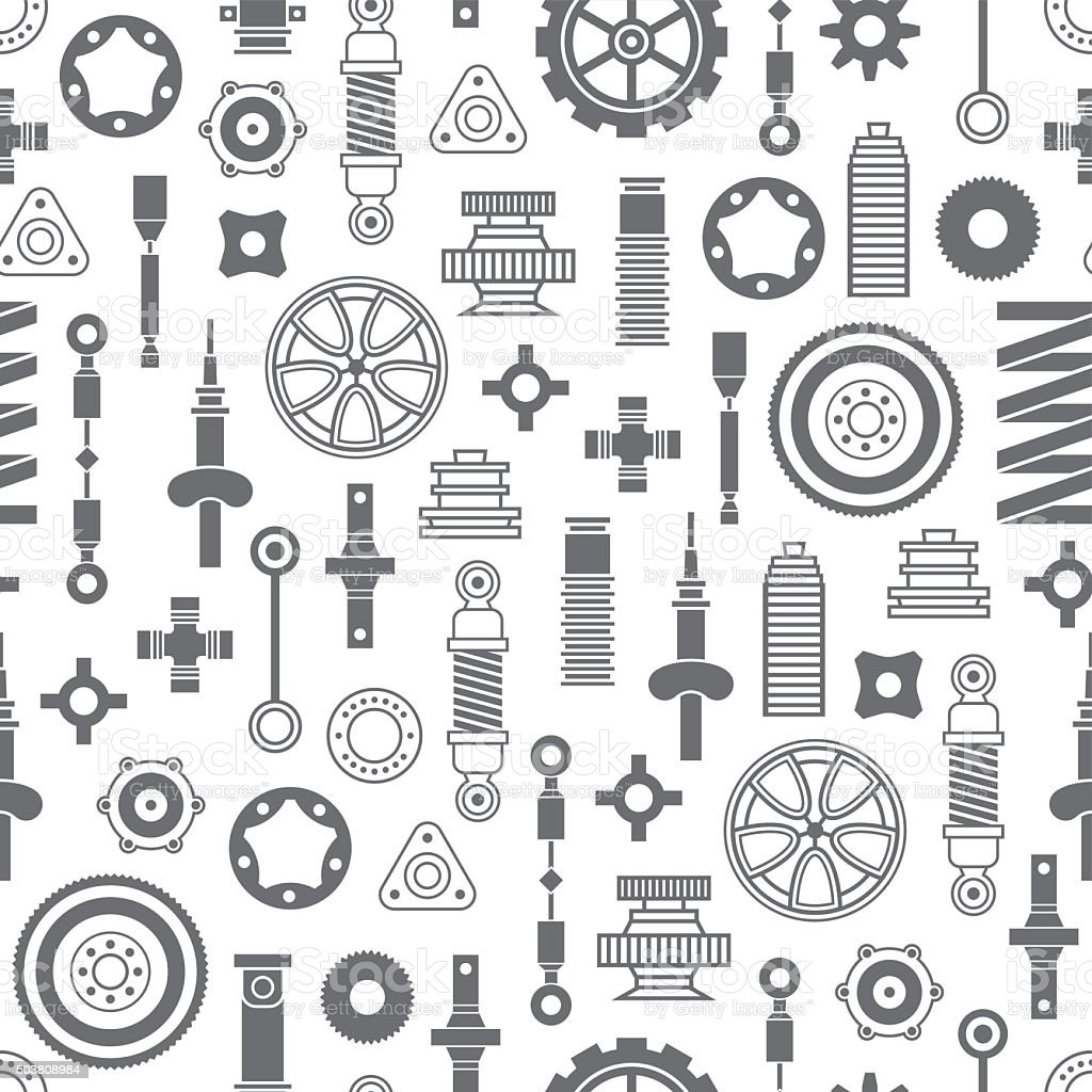 Auto spare parts seamless pattern vector art illustration