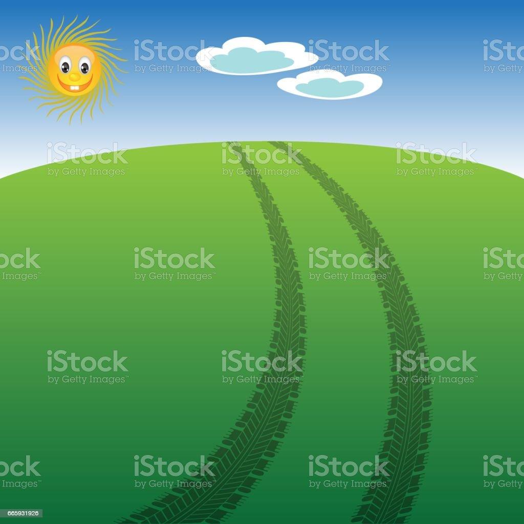 Auto Tire Prints on Summer Landscape vector art illustration