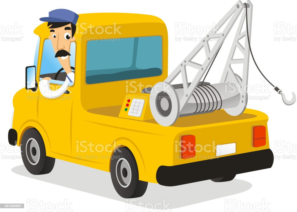 Auto Wrecker Tow Tracks vector art illustration