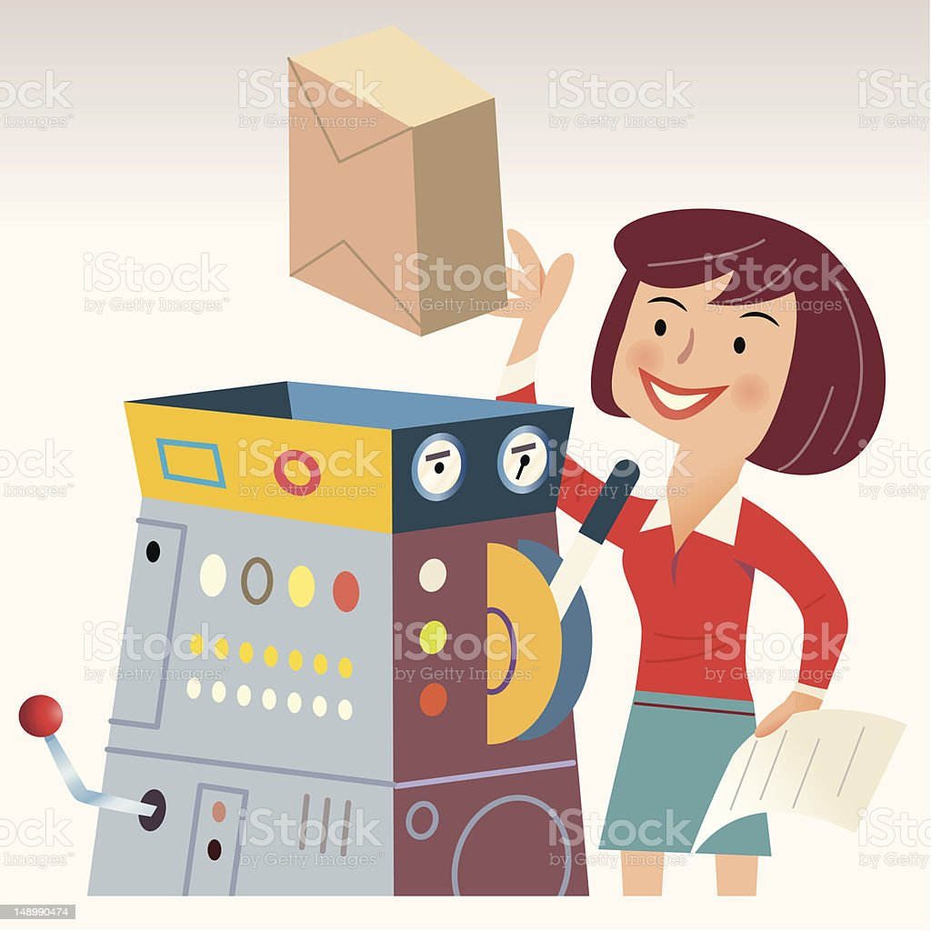 Automated Package Delivery vector art illustration