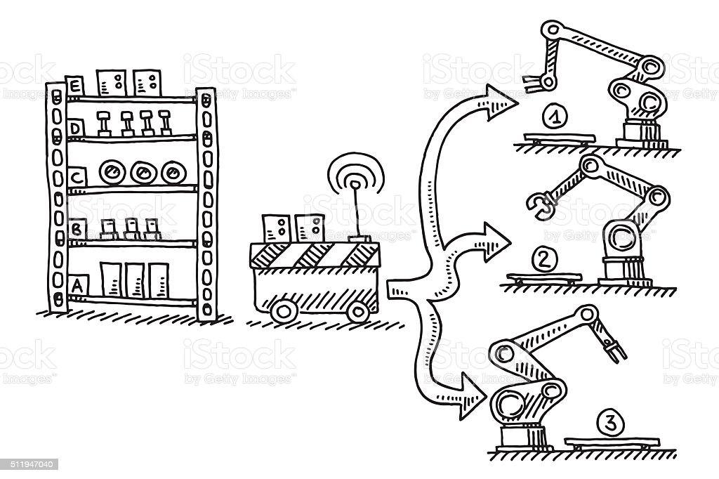 Automatic Supply Semifinished Parts Assembly Line Drawing vector art illustration