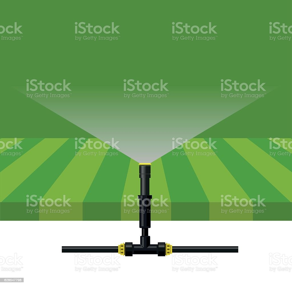 Automatic watering system vector art illustration