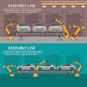 Automation abstract robotic assembly line car flat isolated vector illustration