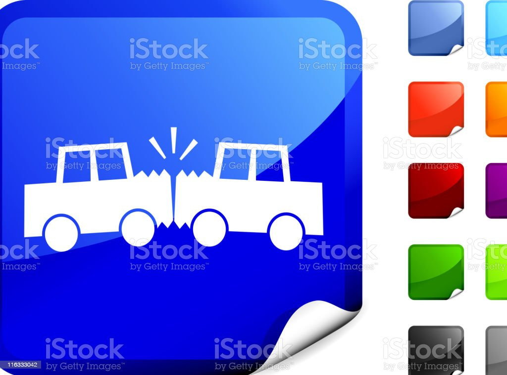 Automobile accident royalty free vector art on Blue Sticker royalty-free stock vector art