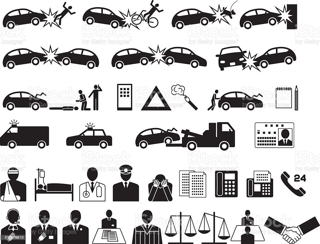 Automobile accident. Traffic accident. Insurance company. icon vector art illustration