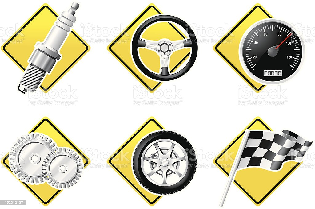 Automobile and Racing icons - part two royalty-free stock vector art