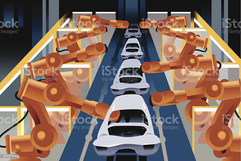 Automobile assembly line vector art illustration