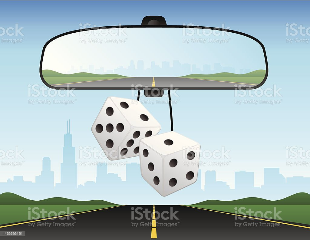 Automobile Car Rearview Mirror Dice Interstate Freeway Vector Illustration vector art illustration