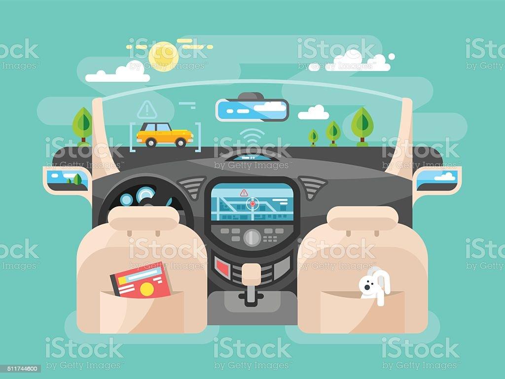 Automobile computer assistent vector art illustration
