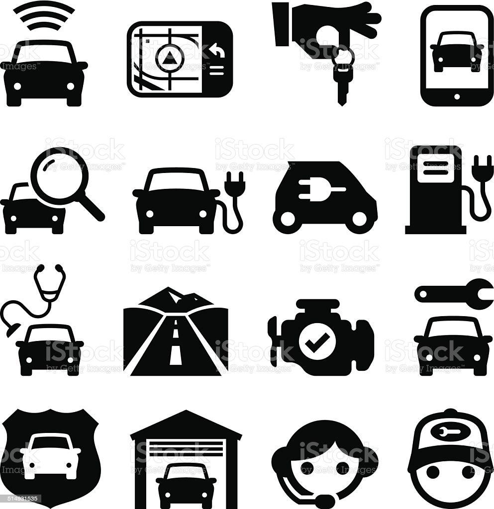 Automobile Icons - Black Series vector art illustration