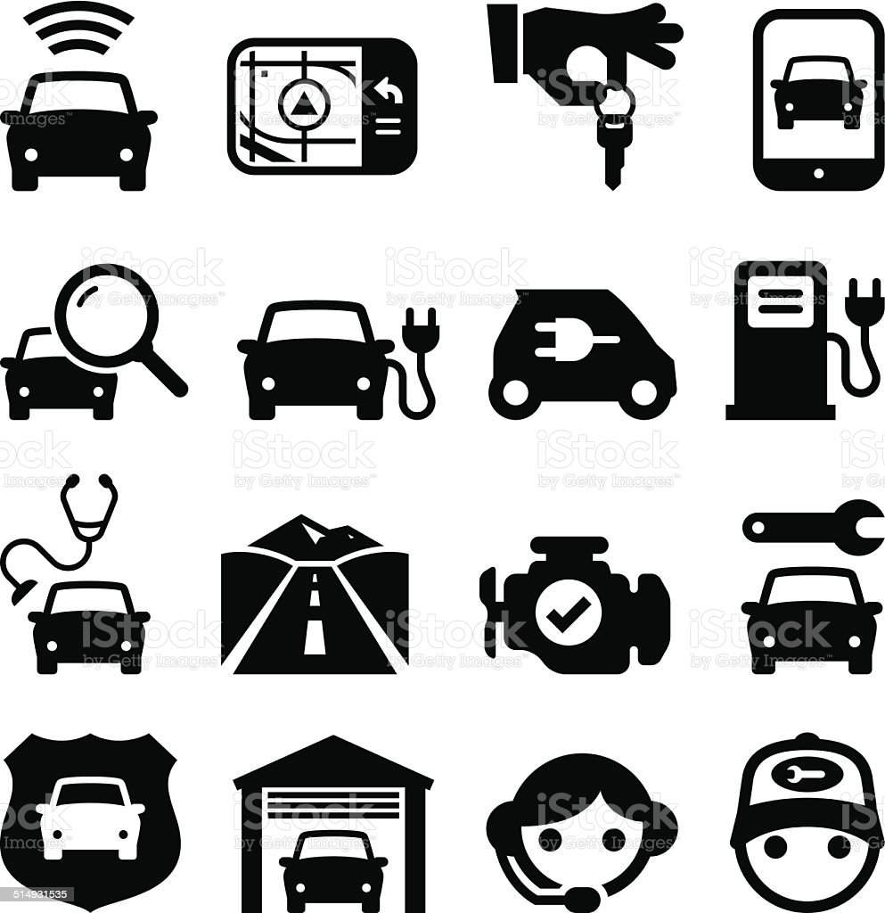 Automobile Icons - Black Series vector art illustration