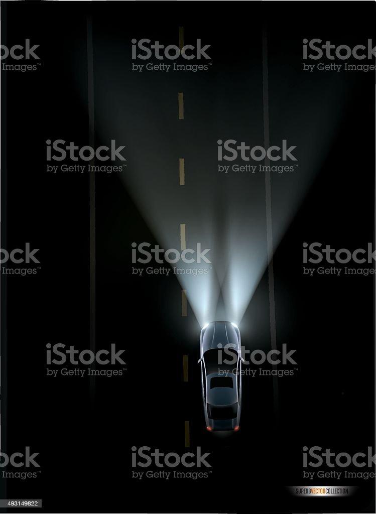 Automobile on a dark road vector art illustration