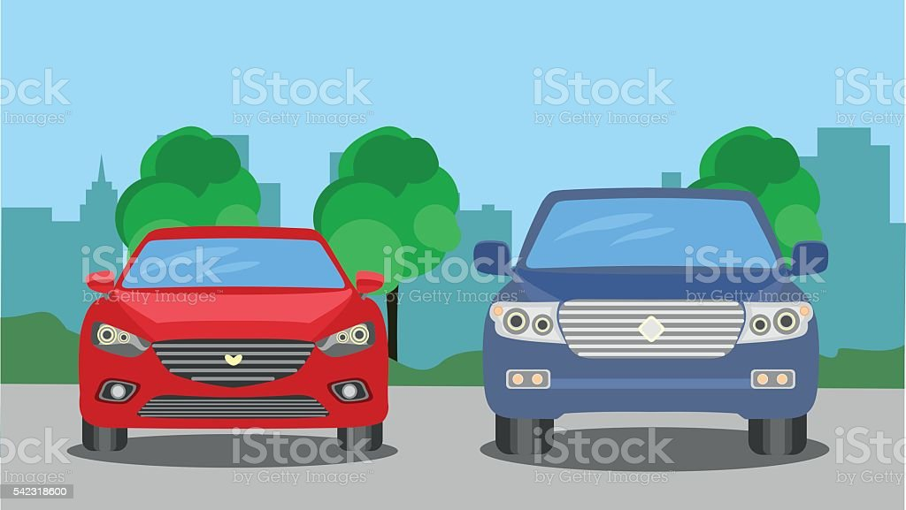 Automobile on the background of the city vector art illustration