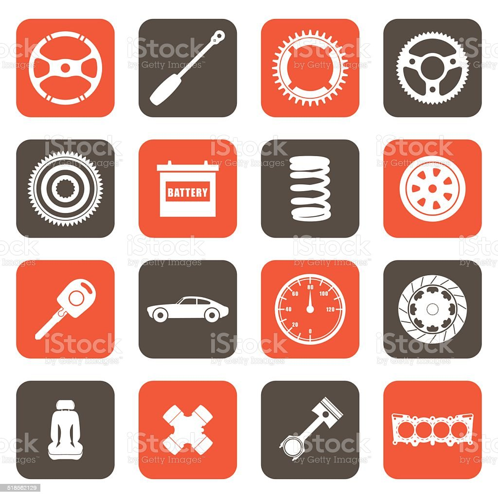 Automobile parts related icons vector art illustration