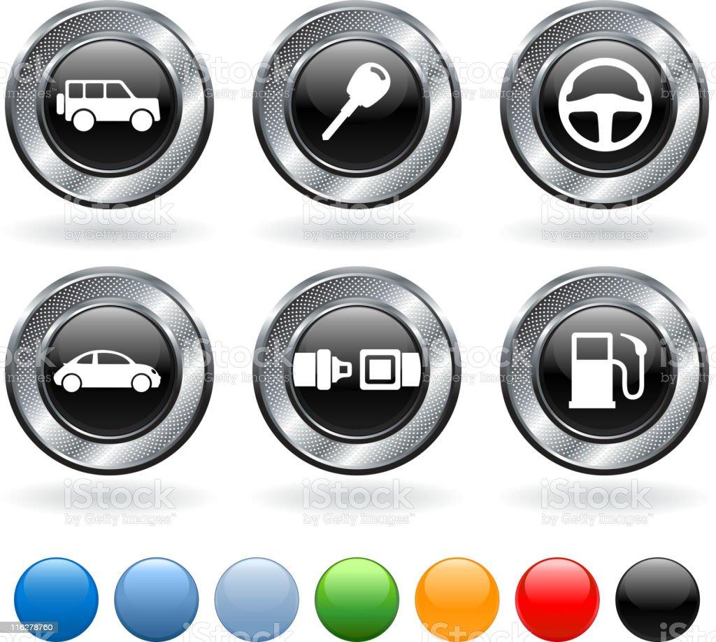 Automobile royalty free vector icon set on metallic button royalty-free stock vector art