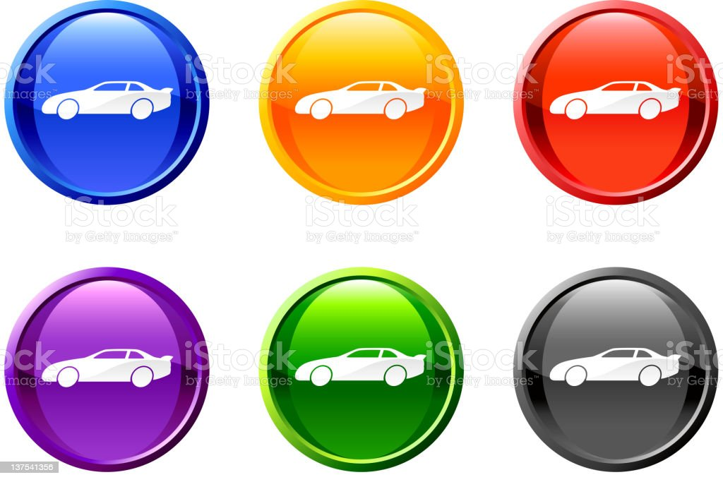 automobile royalty free vector icon set on round shiny buttons vector art illustration