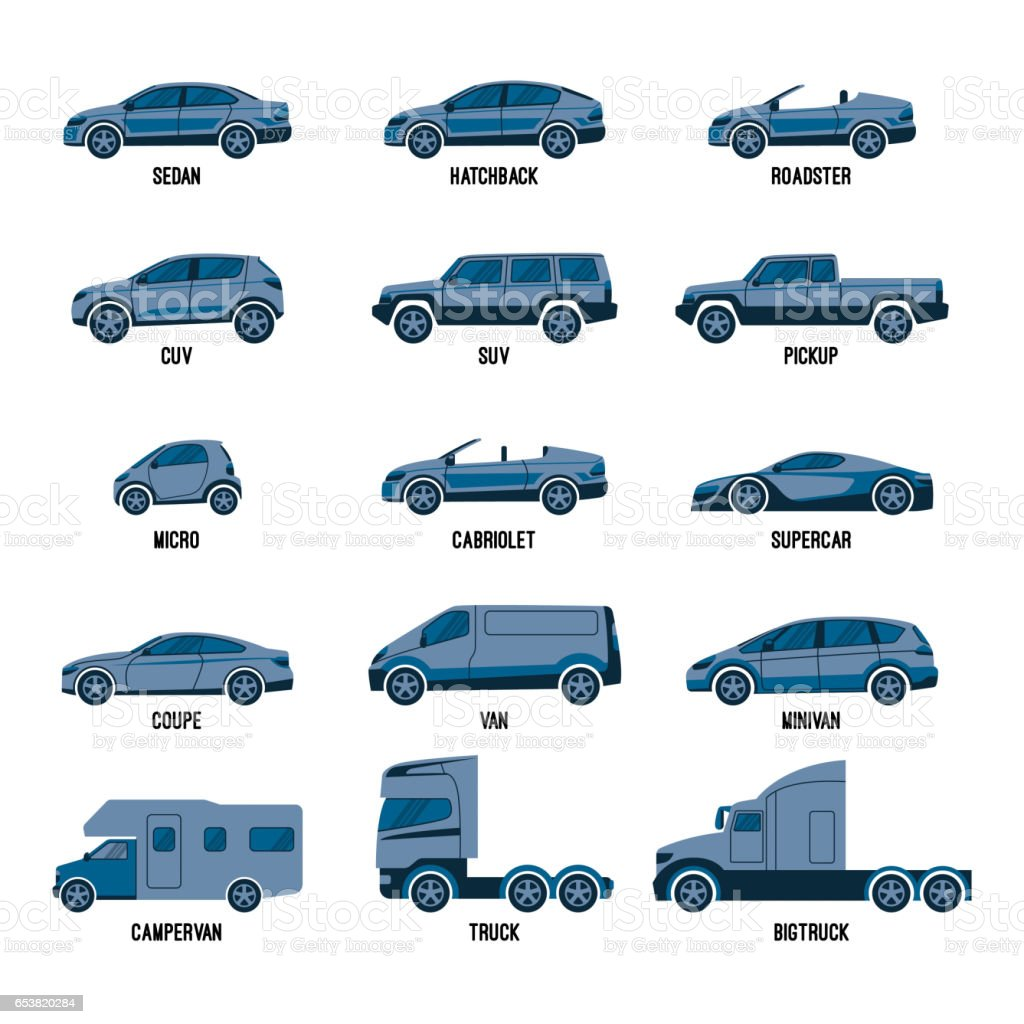 Automobile set isolated. Car models of different sizes or capabilities vector art illustration