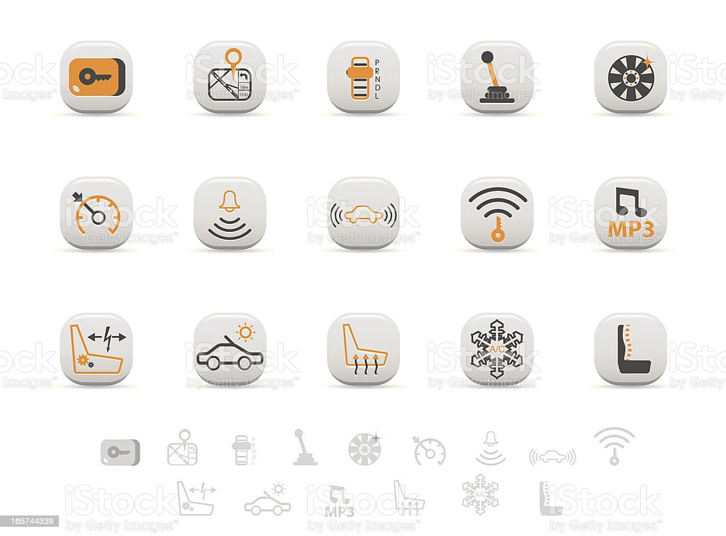 Automobile specs icon set royalty-free stock vector art