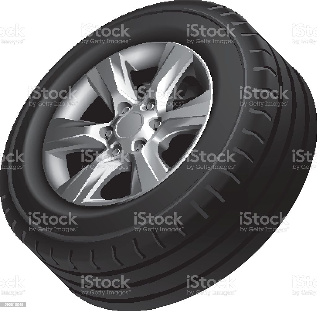 Automobile wheel isolated vector art illustration