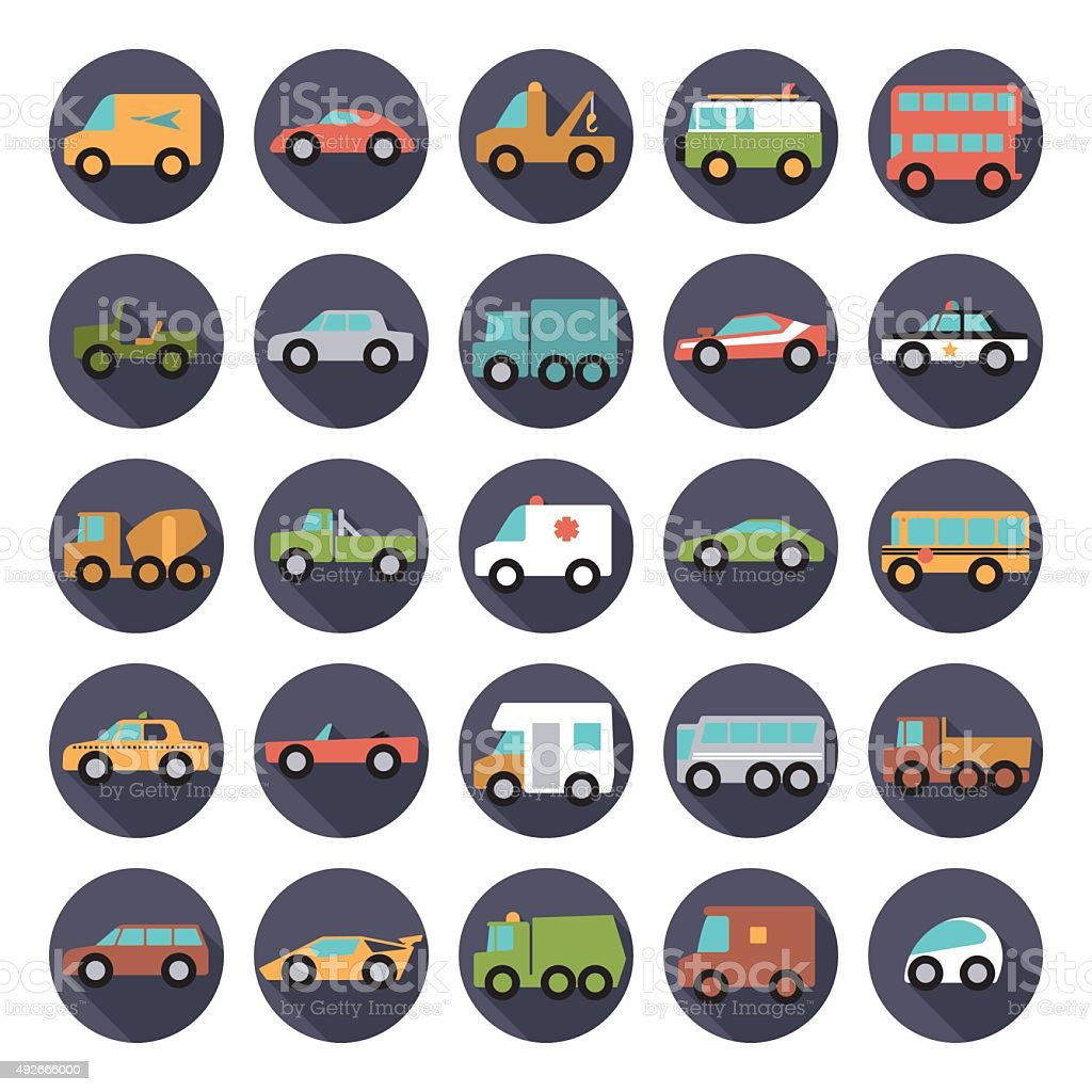 Automobiles Flat Design Vector Icons Collection vector art illustration