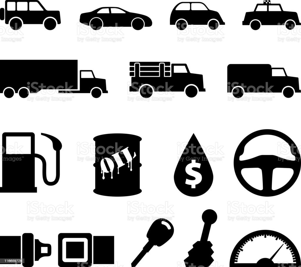 automotive black and white icon set FINAL vector art illustration