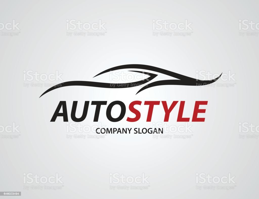 Automotive car logo design with abstract sports vehicle silhouette vector art illustration