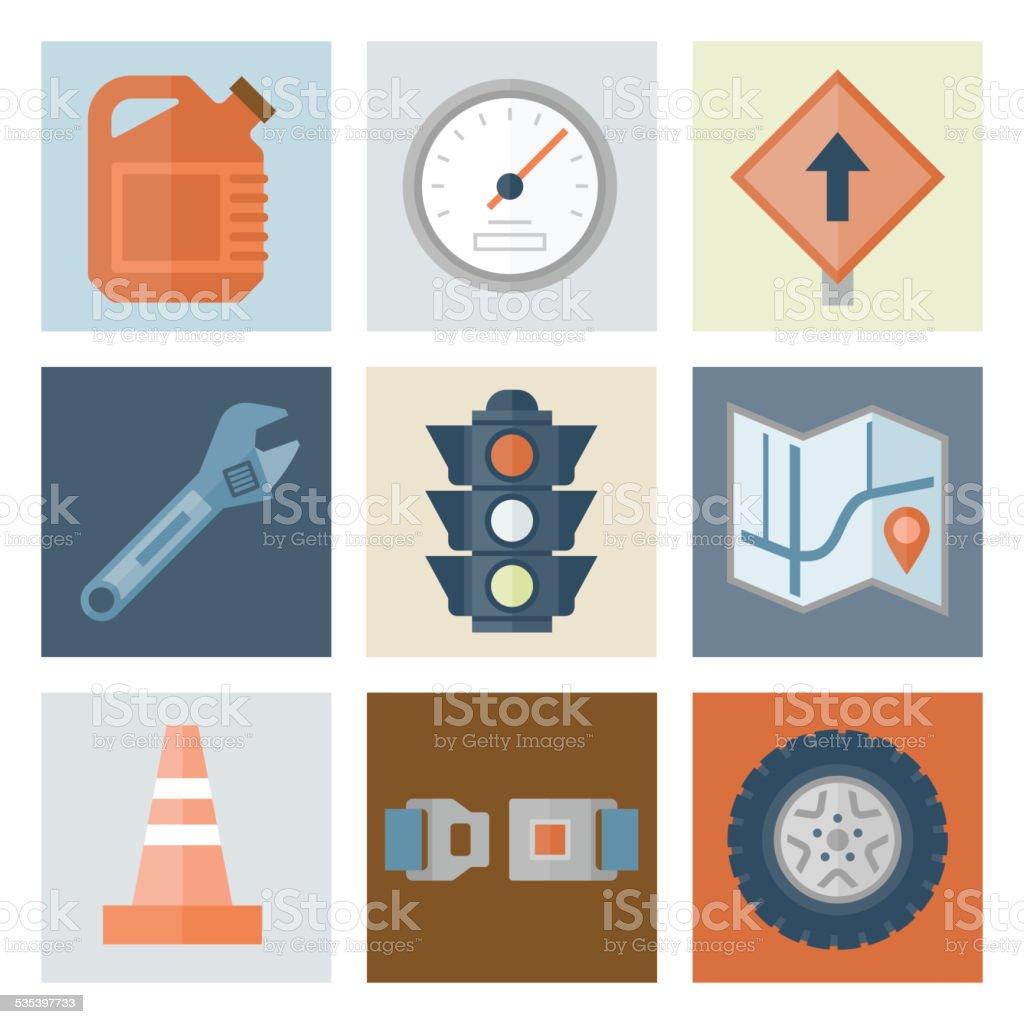 Automotive Icons 2 — Flat Series vector art illustration