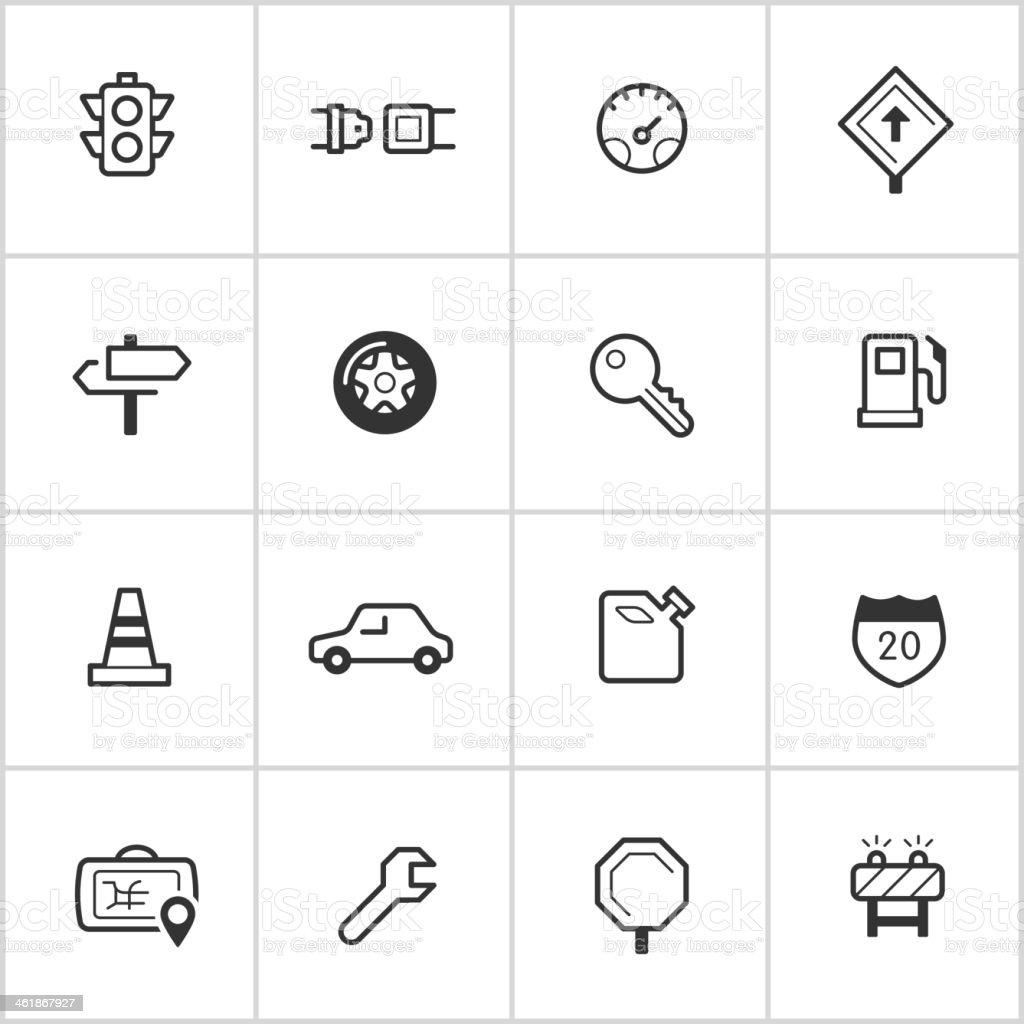 Automotive Icons — Inky Series vector art illustration