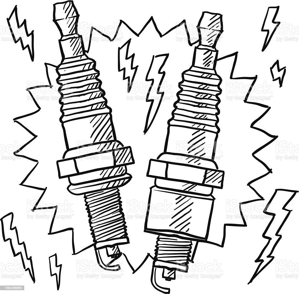Automotive spark plugs sketch vector art illustration
