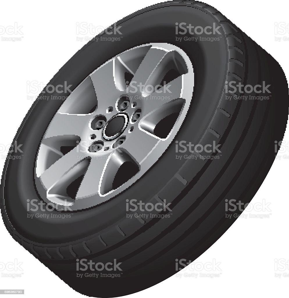 Automotive wheel vector art illustration