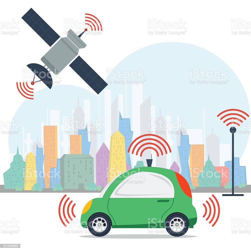 Autonomous machine with satellite control vector art illustration