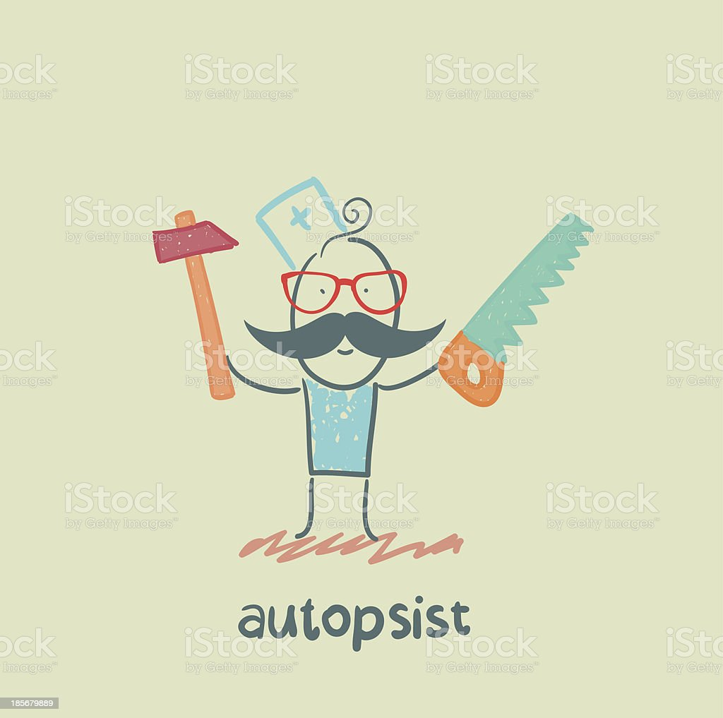 autopsist with a saw and mrlotkom royalty-free stock vector art