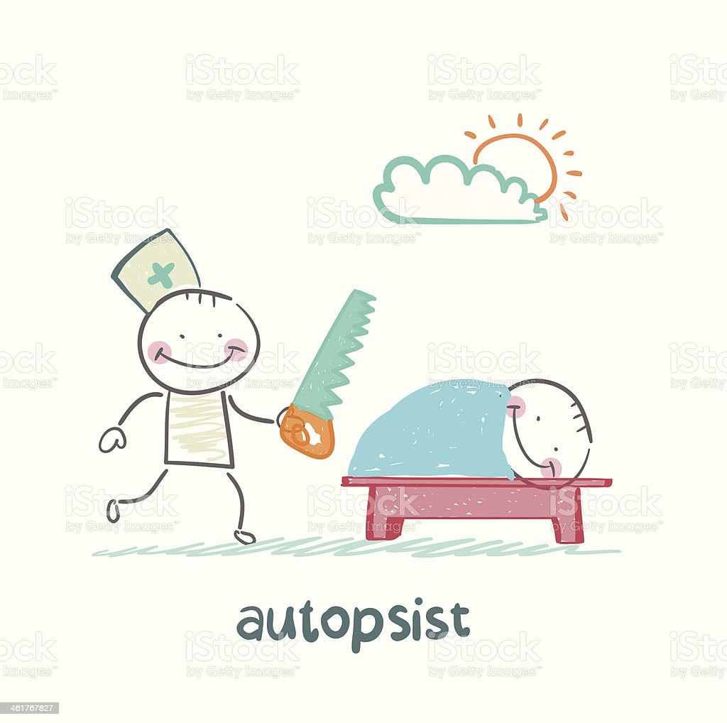 autopsist with a saw at work royalty-free stock vector art